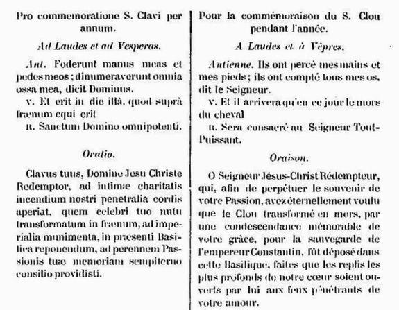 Verset et oraison pour la commémoraison du Saint Clou