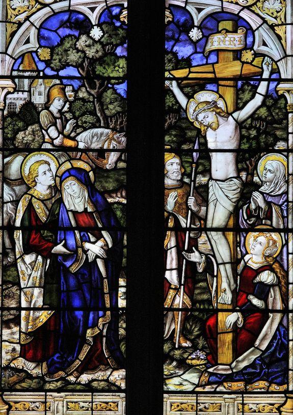 Durham, Sainte Marguerite d'Antioche Crucifixion par Burlison et Grylls
