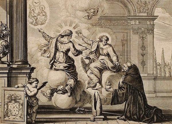 Extase de Saint Augustin - gravure XVIIe siècle