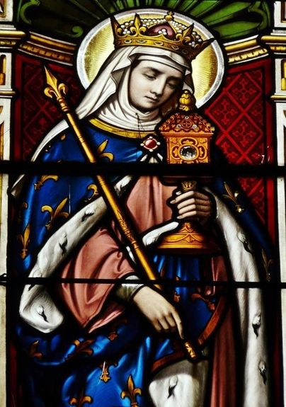 Sainte Radégonde vitrail de l'église Saint-Laon de Thouars - détail