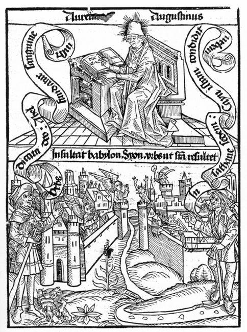 St Augustin écrivant la Cité de Dieu - Bâle 1515