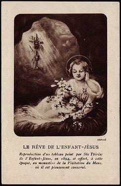 ancienne image de dévotion représentant le tableau