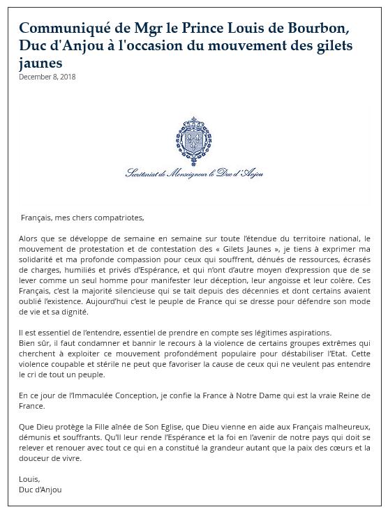 Message du Prince 8 déc 2018