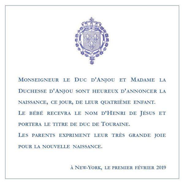 Annonce naissance Henri duc de Touraine