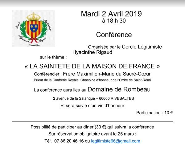 Conférence Frère Maximilien-Marie en Roussillon le 2 avril 2019