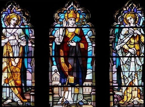 St Grégoire le Grand vitrail basilique Notre-Dame Montréal au Québec
