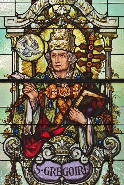 St Grégoire le Grand vitrail de l'église de Muhlbach sur Mulhouse