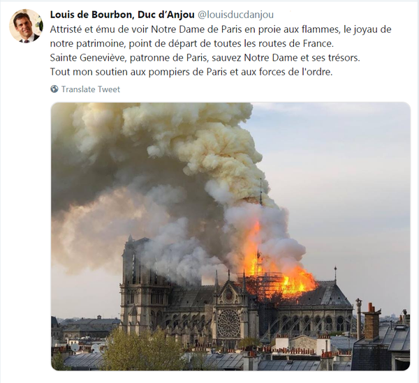 Message du Roi au moment de l'incendie de Notre-Dame de Paris