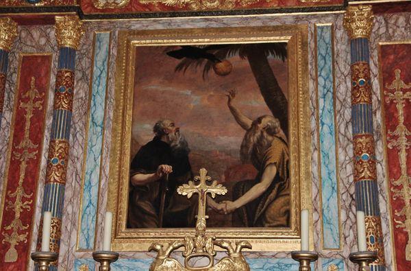 tableau de la rencontre de Saint Paul et Saint Antoine