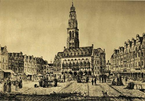 Arras - le beffroi et la petite place
