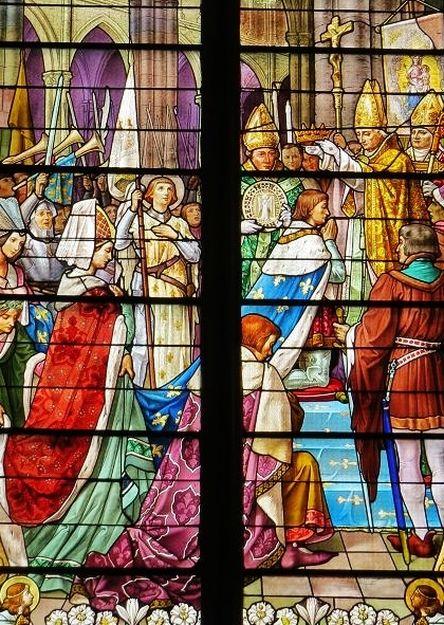 Sacre de Charles VII - vitrail de l'église de Lunévillenéville - détail