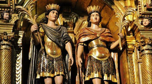 Détail des statues des Saints Abdon et Sennen - Arles-sur-Tech