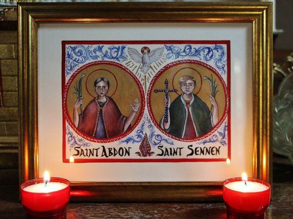 enluminure des Saints Abdon et Sennen au Mesnil-Marie