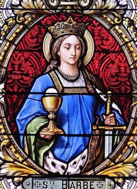 Sainte Barbe - vitrail de l'église Saint-Pierre à Bourg-Bruche (Alsace)