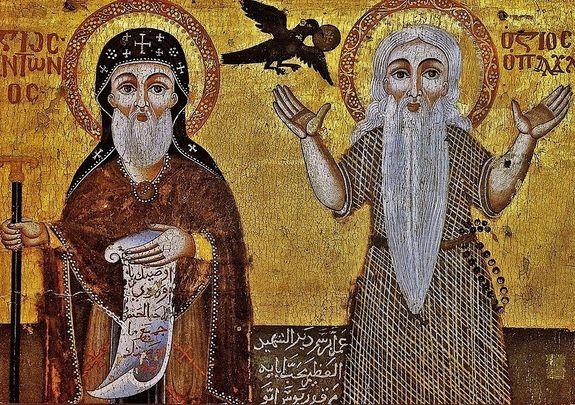 Icône copte 1777 détail - St Antoine le grand & St Paul ermite