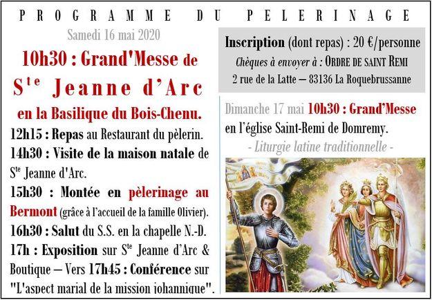 Pèlerinage Donremy mai 2020 - 2