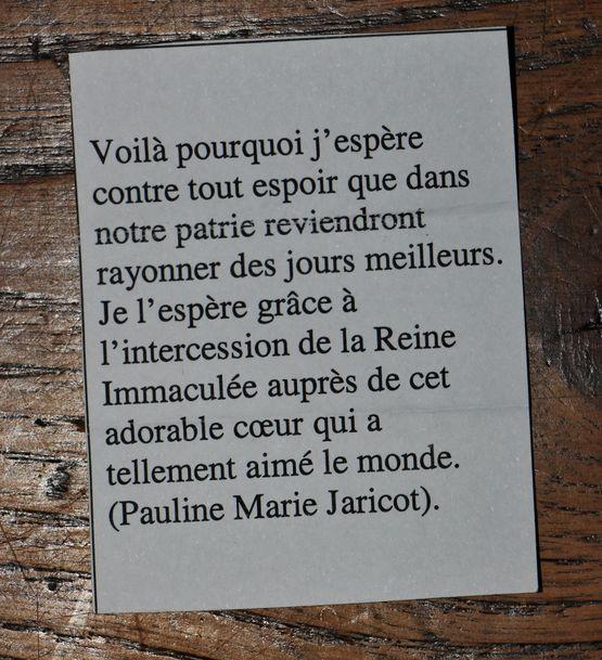 Sentence de la Vénérable Pauline-Marie