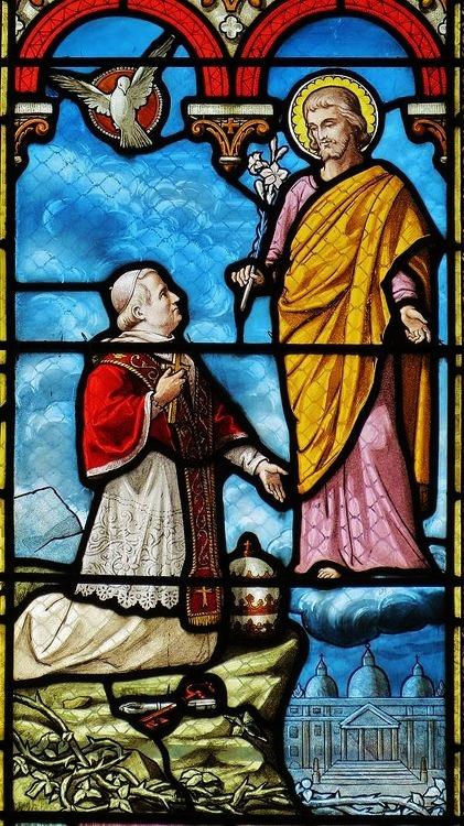 Pie IX place l'Eglise sous le patronage de Saint Joseph - église de Saint-Ouën-des-Toits
