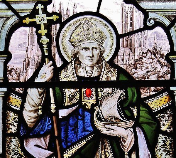 Saint Anselme détail d'un vitrail de la cathédrale de Chester