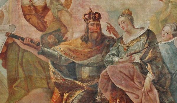 St Charlemagne et Ste Hildegarde - fresque de la Résidence des Princes-Abbés à Kempten