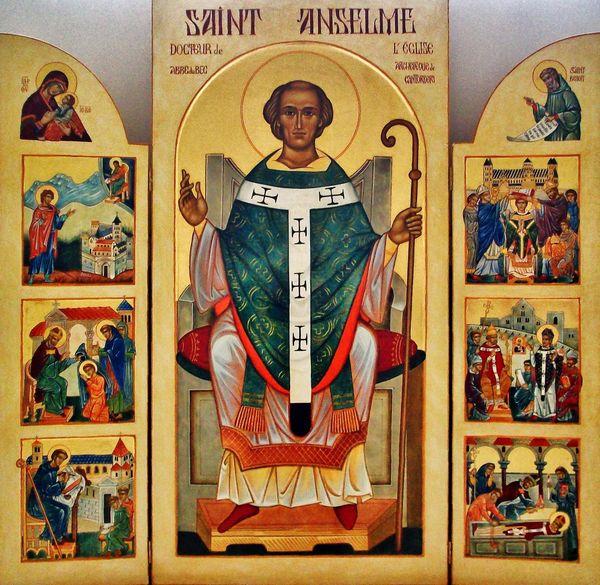 Triptyque de la vie de Saint Anselme - abbaye du Bec