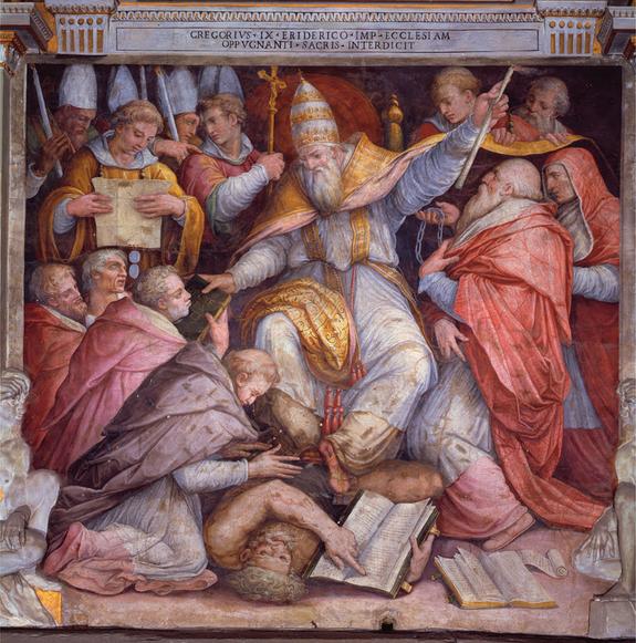 Vasari-1573- Excommunication de Frédéric II par Grégoire IX