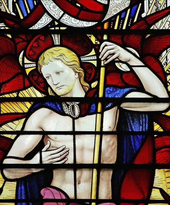 Vitrail du Christ ressuscité - détail
