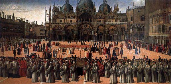 Gentile Bellini Procession avec la relique de la Sainte Croix à Venise 1496