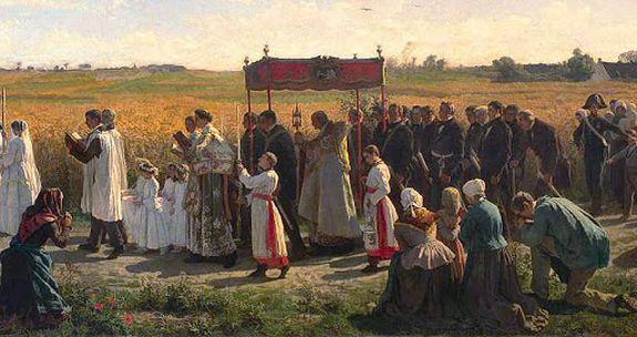 Jules Breton  la procession de bénédiction des blés en Artois