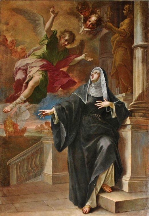 Sainte Monique fortifiée par l'apparition d'un ange - Pietro Maggi 1714 - église St Marc Milan
