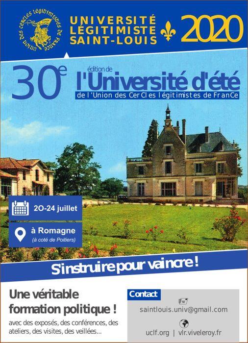 affiche de l'université d'été Saint-Louis 2020