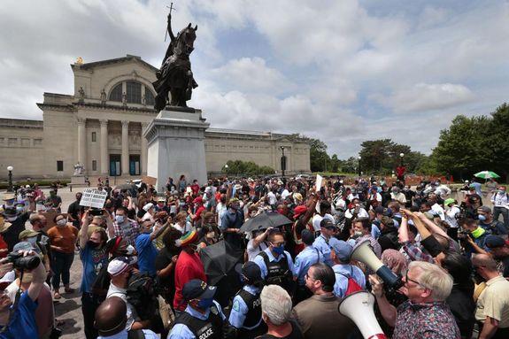 Défenseurs de la statue de Saint Louis à Saint-Louis du Missouri