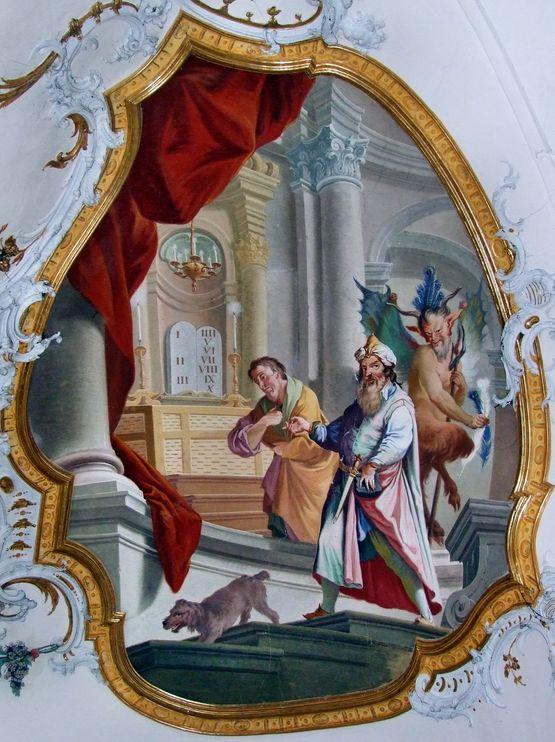 le pharisien et le publicain - fresque de l'abbaye d'Ottobeuren