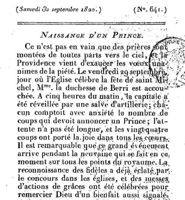 Ami de la Religion et du Roi 30 septembre 1820 - 1