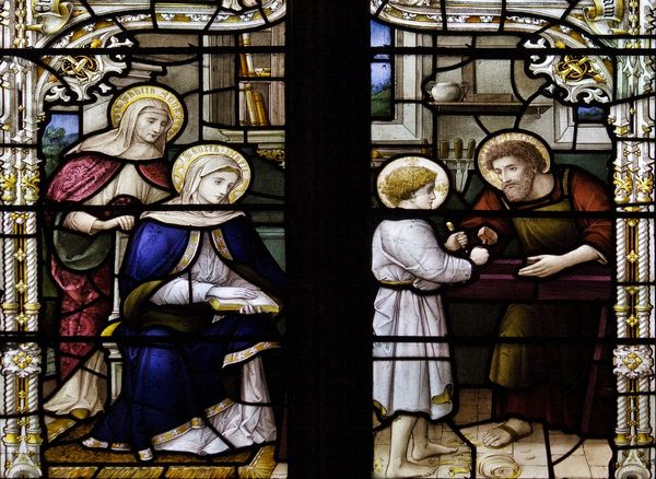 St Joseph charpentier -  This splendid stained glass window is by Sir Ninian Comper and is in the Lady chapel of Downside Abbey church.  - 4215794179_bf3edea644_o
