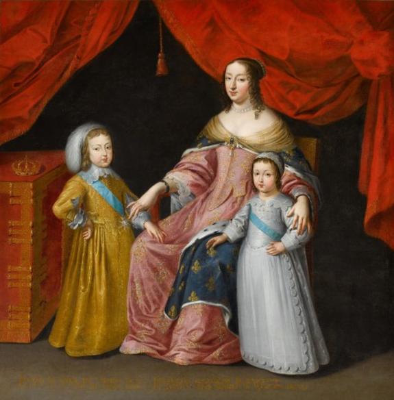 Anonyme vers 1645 - Anne d'Autriche avec le jeune Louis XIV et son frère puiné