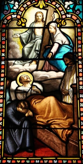 Basilique de La Louvesc - vitrail de la mort de Saint Régis