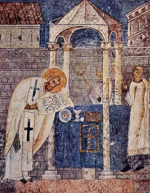 Saint Basile célébrant la divine liturgie - fresque de la cathédrale d'Ohrid en Macédoine