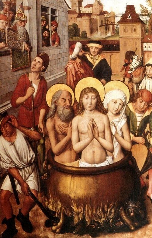 Saint Guy Saint Modeste et Sainte Crescence dans la chadière de poix brûlante