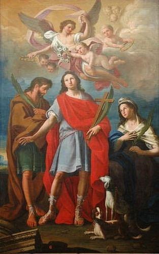 Saint Guy Saint Modeste et Sainte Crescence - tableau de Mattia de Mare 1753 à Ostuno