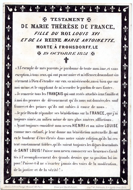 testament de SM la Reine Marie-Thérèse de France